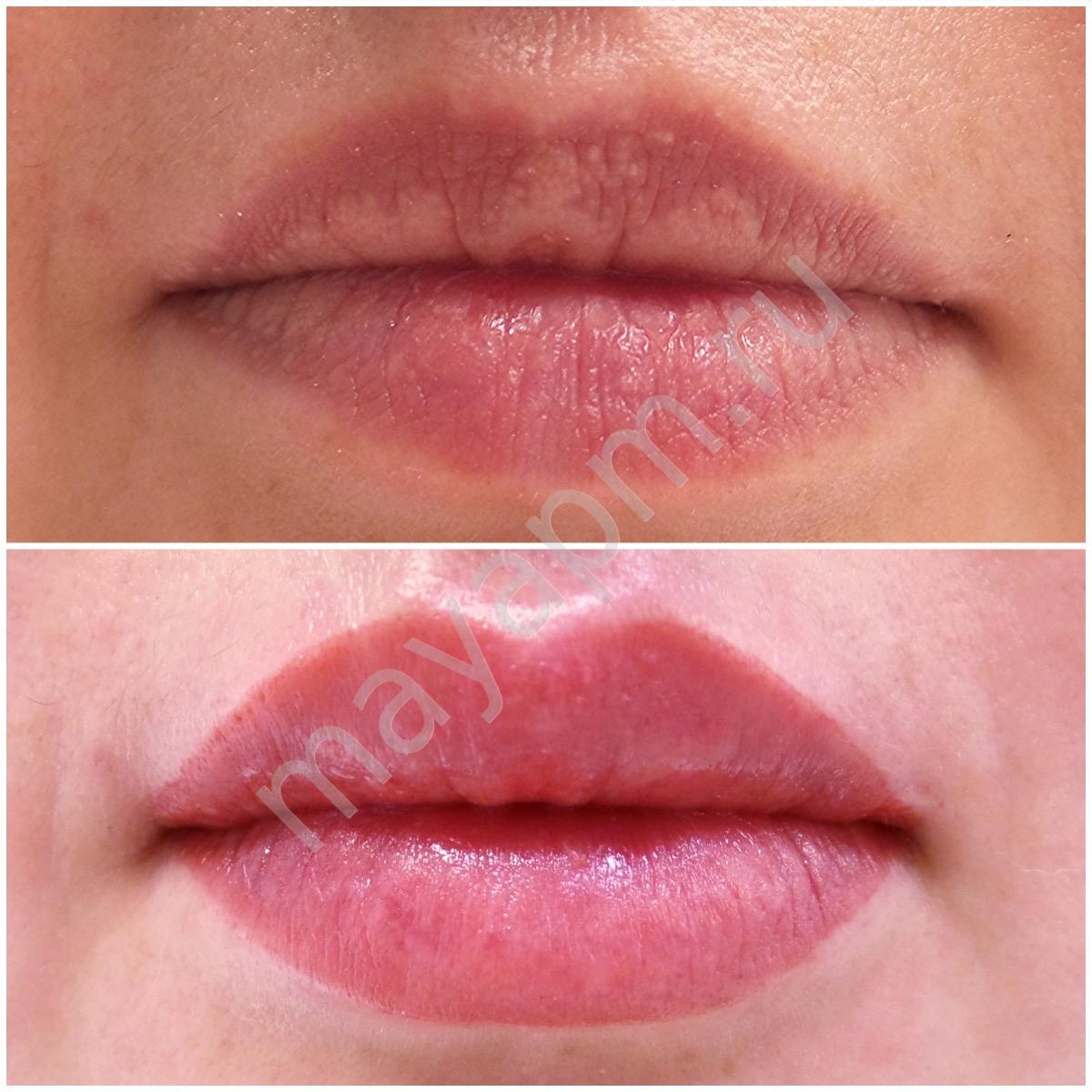 Фото естественные цвета перманентного макияжа губ