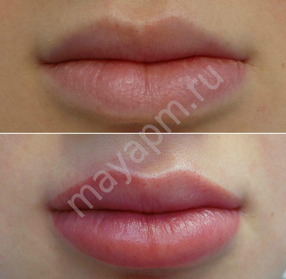 Татуаж губ с растушевкой - натуральный цвет, фото до и после